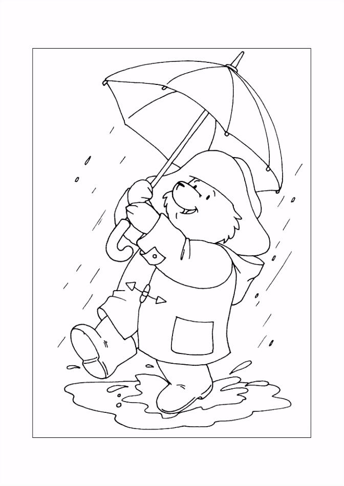 Beertje paddington in de regen Beertje Paddington Kleurplaten