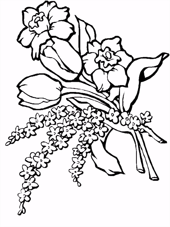 6 Bloemen Kleurplaat