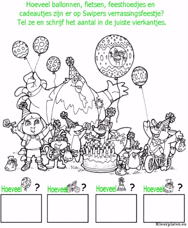 Dora tellen en kleuren kleurplaat kleurplaat