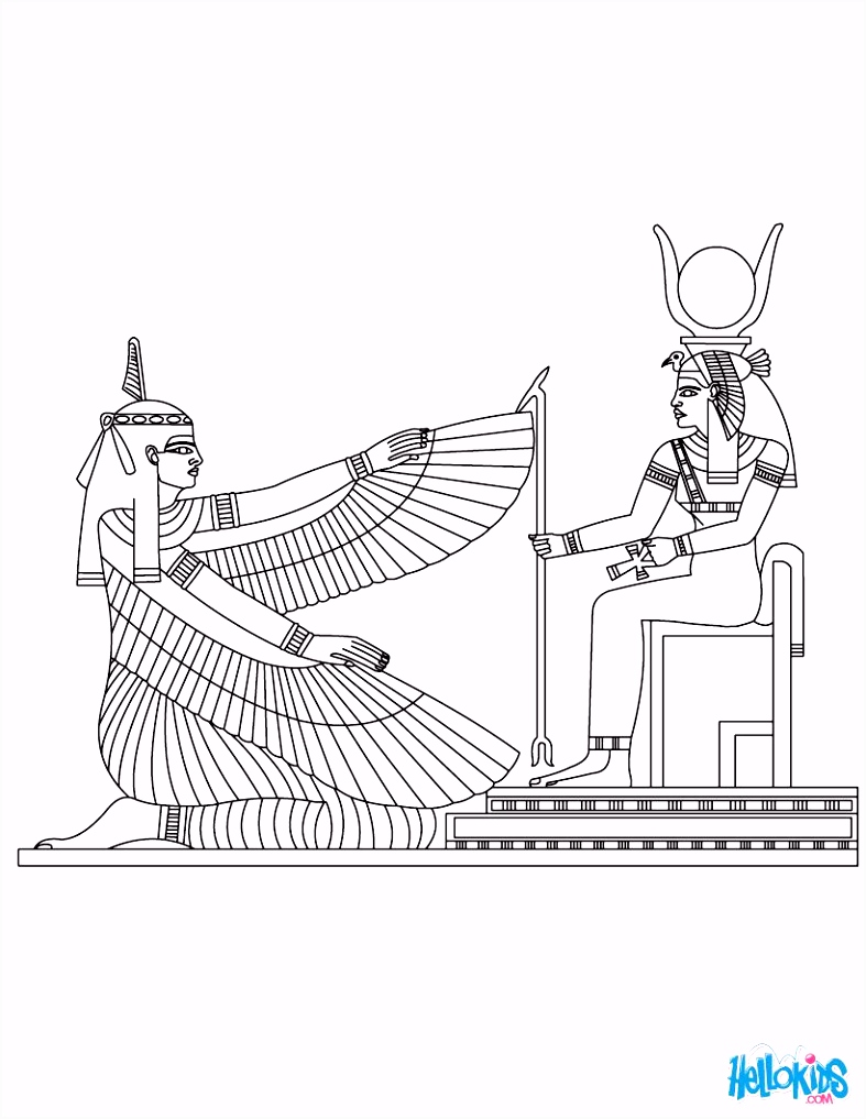 Maat & Isis Egyptian goddess & gods Coloring Page