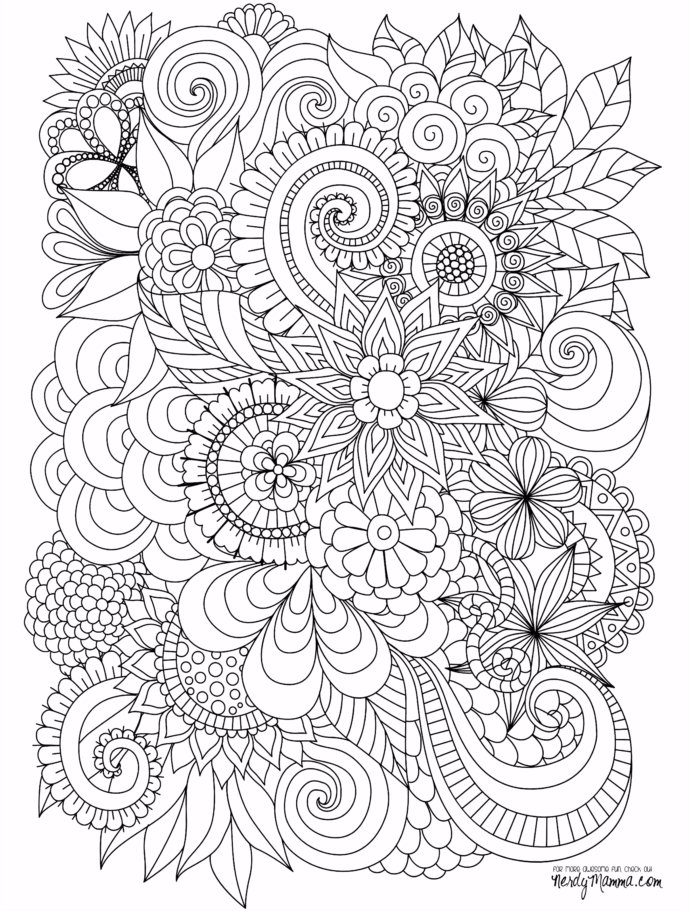 Flowers Abstract Coloring pages colouring adult detailed advanced