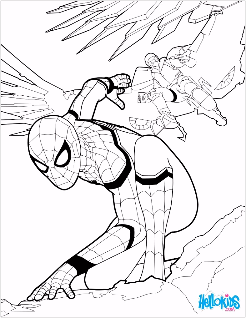 Spiderman coloring page from the new Spiderman movie Home ing