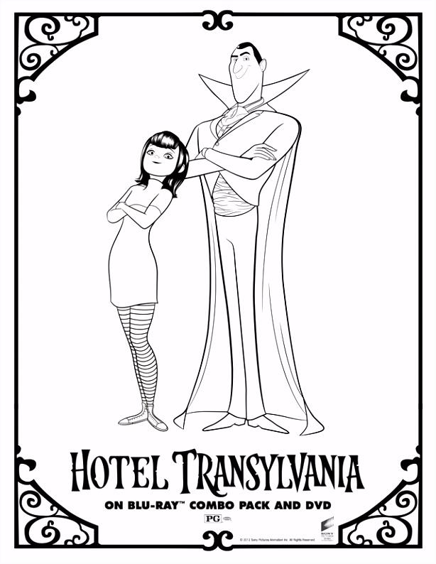 Hotel Transylvania s Dracula and Mavis Free Printable Coloring