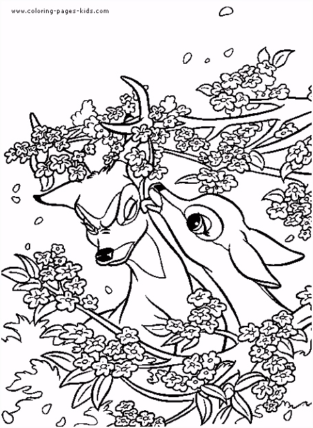 Bambi and Faline bambi color page disney coloring pages color