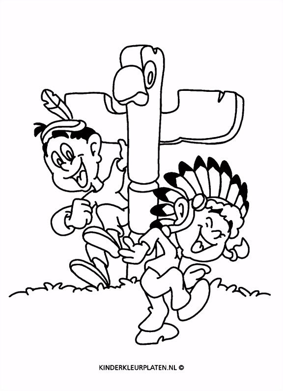 Kleurplaat totempaal indianen VAKANTIE