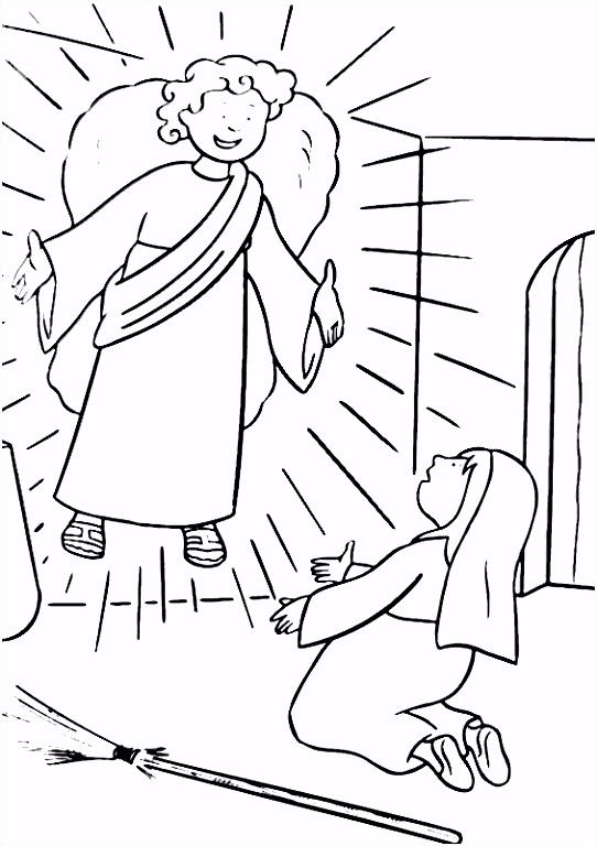 Leuk voor kids kleurplaat De Engel verschijnt aan Maria