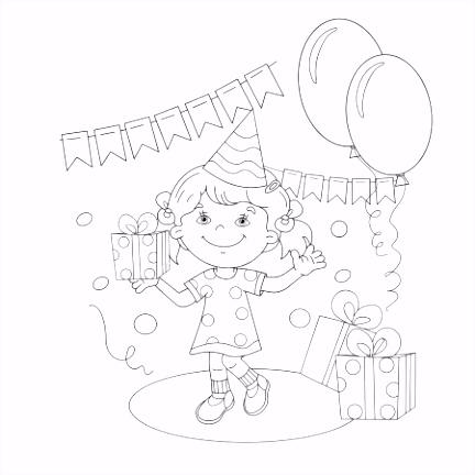 Kleurplaat pagina overzicht van cartoon meisje versieren de
