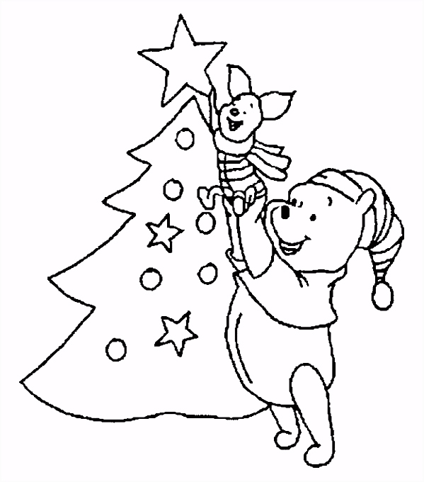 Kleurplaat Winnie The Pooh Kerst ARCHIDEV