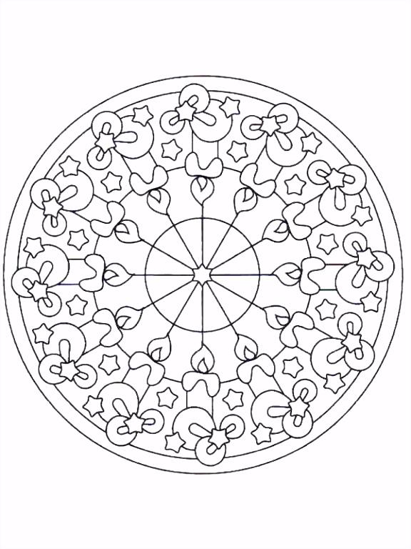 kleurplaten en zo Kleurplaat van Kerstmis Mandala kaarsen