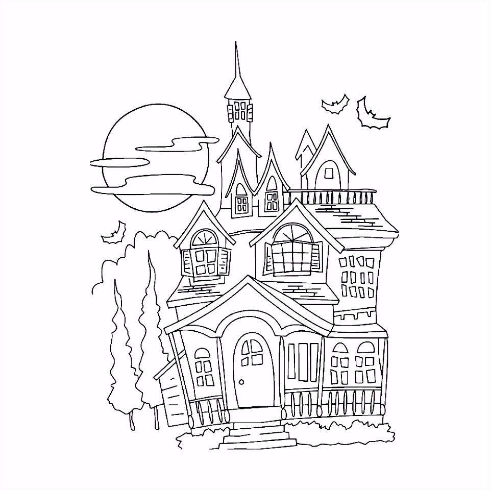 Kleurplaat Halloween spookhuis Kleurplaatje