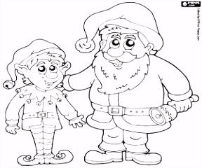 Kleurplaten Kerstman ren ren en elfen kleurplaat