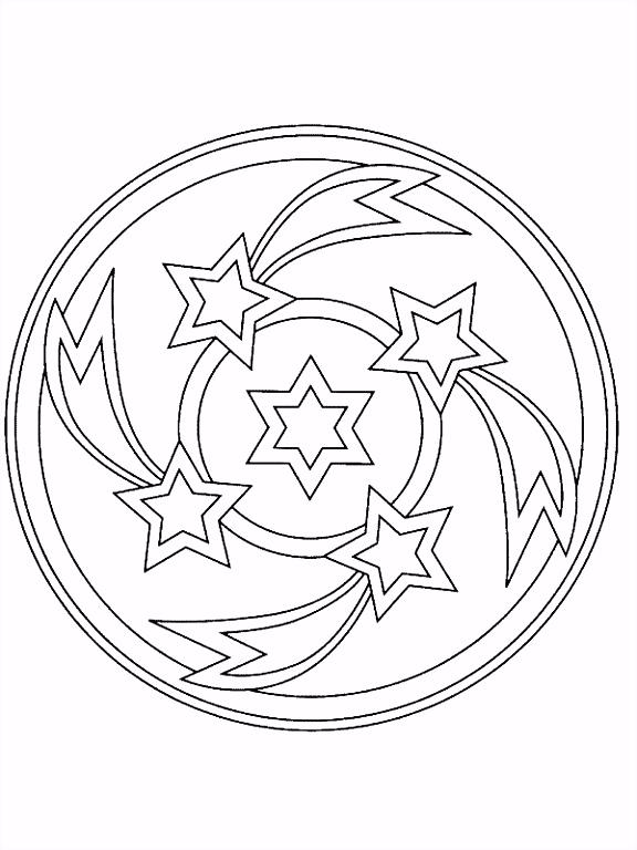 Kerstmis Mandala sterren kleurplaat JouwKleurplaten