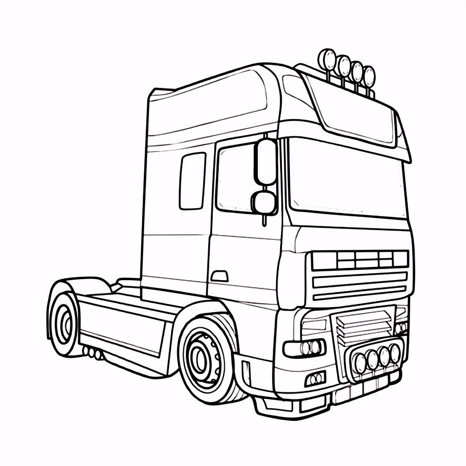Leuk voor kids kleurplaat Vrachtwagen trekker