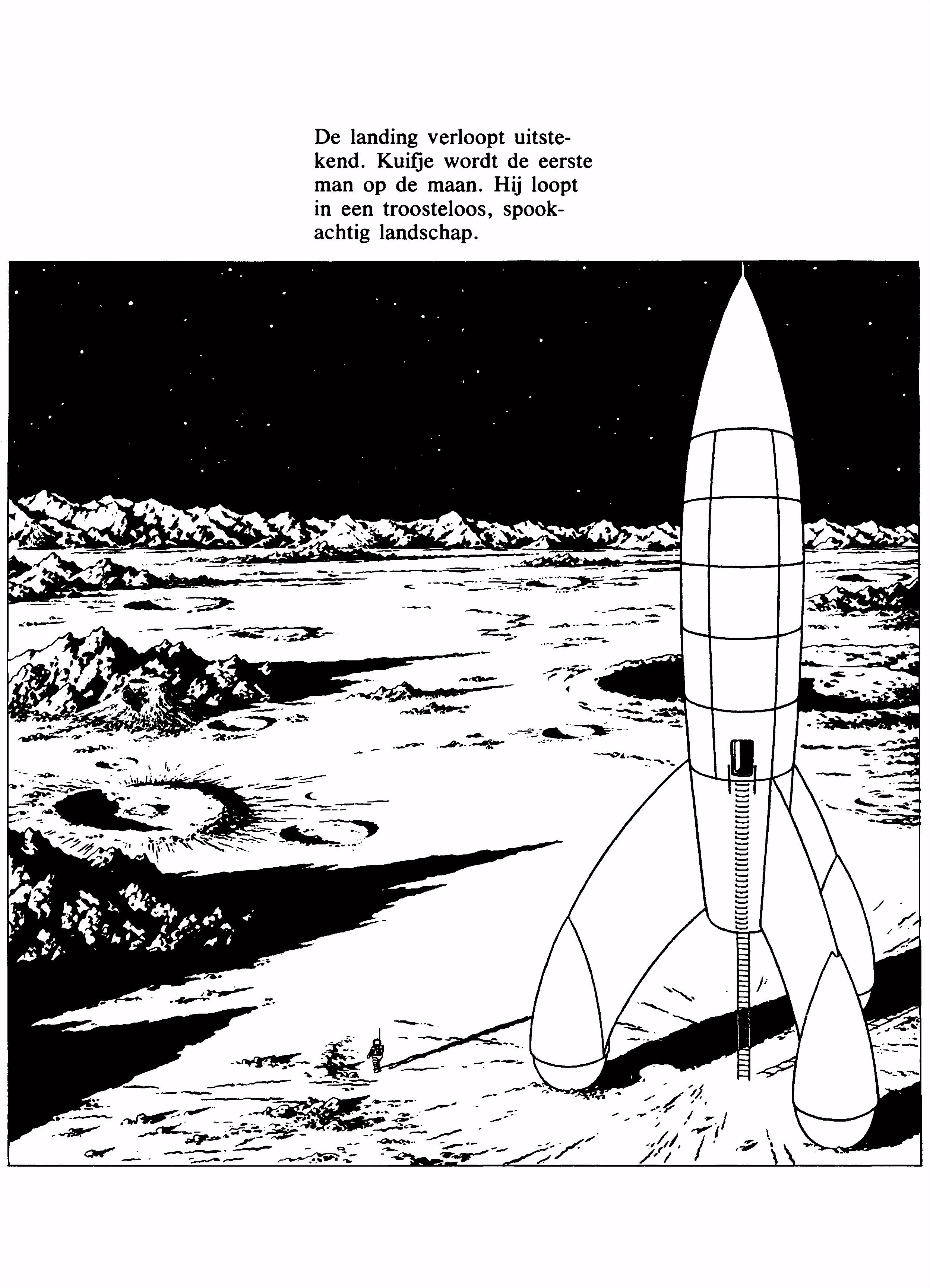 Kleurplaten Paradijs Kleurplaat De raket op de maan