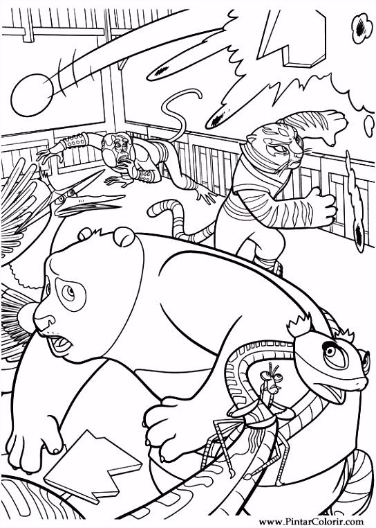 Tekeningen te schilderen & Kleur Kung Fu Panda 2 Print Design 028