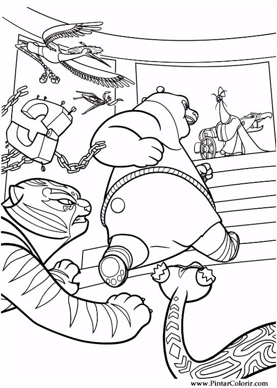 Tekeningen te schilderen & Kleur Kung Fu Panda 2 Print Design 030