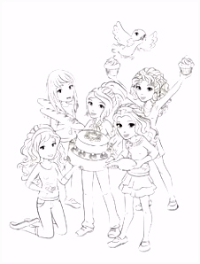 Lego Friends all coloring page for kids printable free Lego