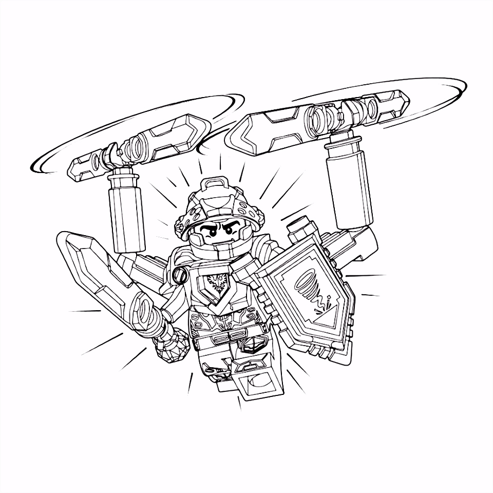 Leuk voor kids kleurplaat Lego Nexo Knights ridder Clay