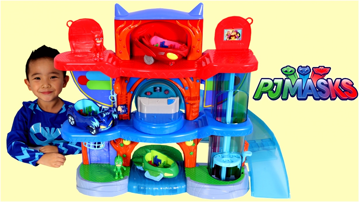 PJ Masks Headquarters Playset Toys Unboxing And Playing With Catboy