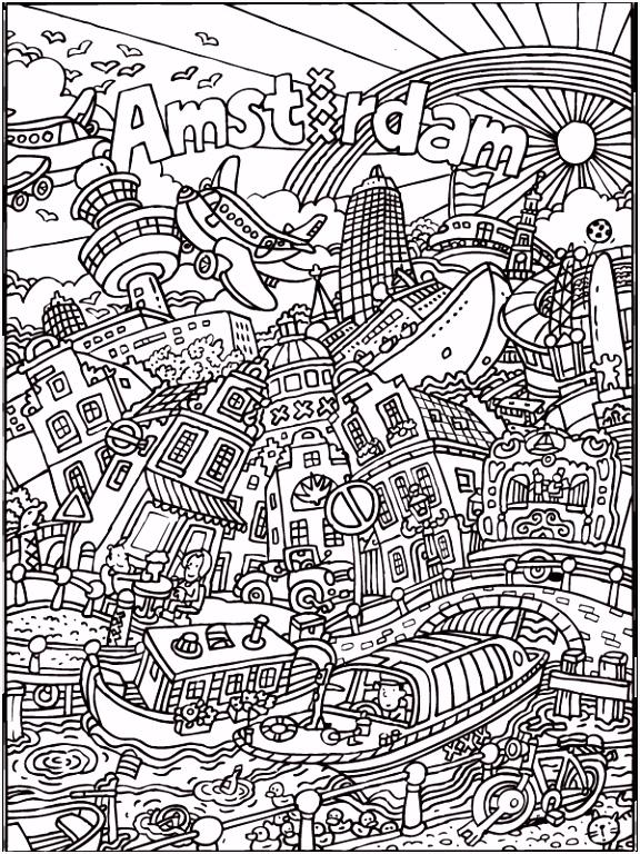 Kleurplaat kleurplaat voor volwassenen Amsterdam Kleurplaten