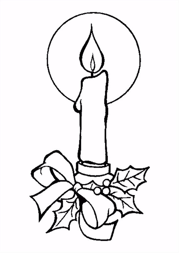 Kleurplaat Kerst kaarsen 4225
