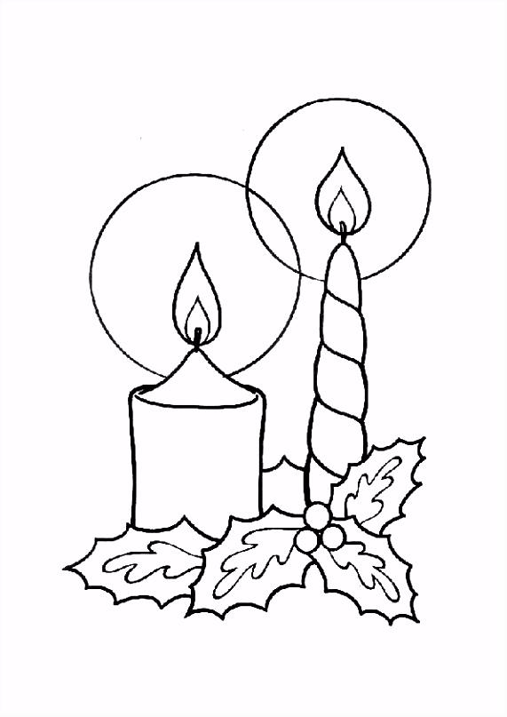 Kleurplaat Kerst kaarsen 4248