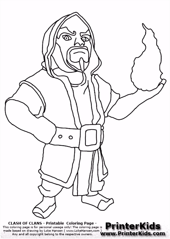Clash Clans Wizard Coloring Page Clash of clans