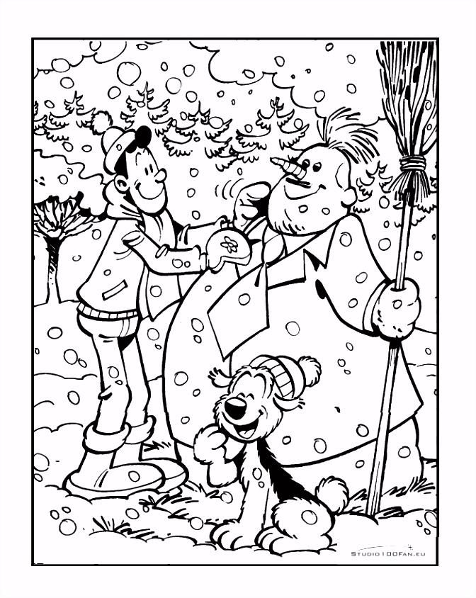 Kleurplaat Alberto sneeuwpop Samson & Gert