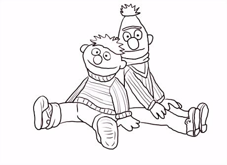 Bert en Ernie zitten en leren kleurplaat