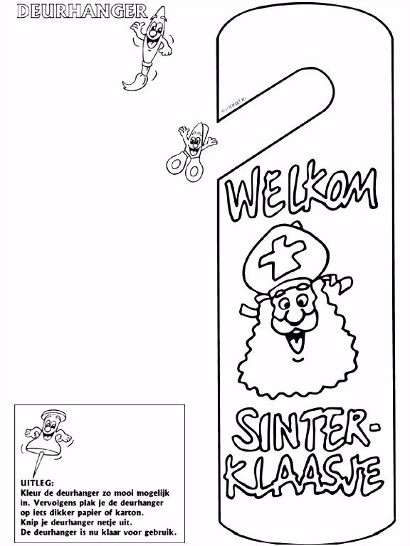 Welkom Sinterklaas Deurhanger Knutselpagina knutselen