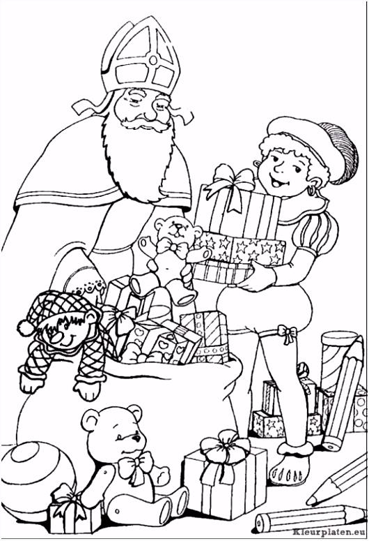 Sinterklaas en zwarte piet kleurplaat kleurplaat