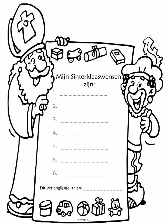 Kleurplaat Verlanglijstje Sinterklaas Kleurplaten