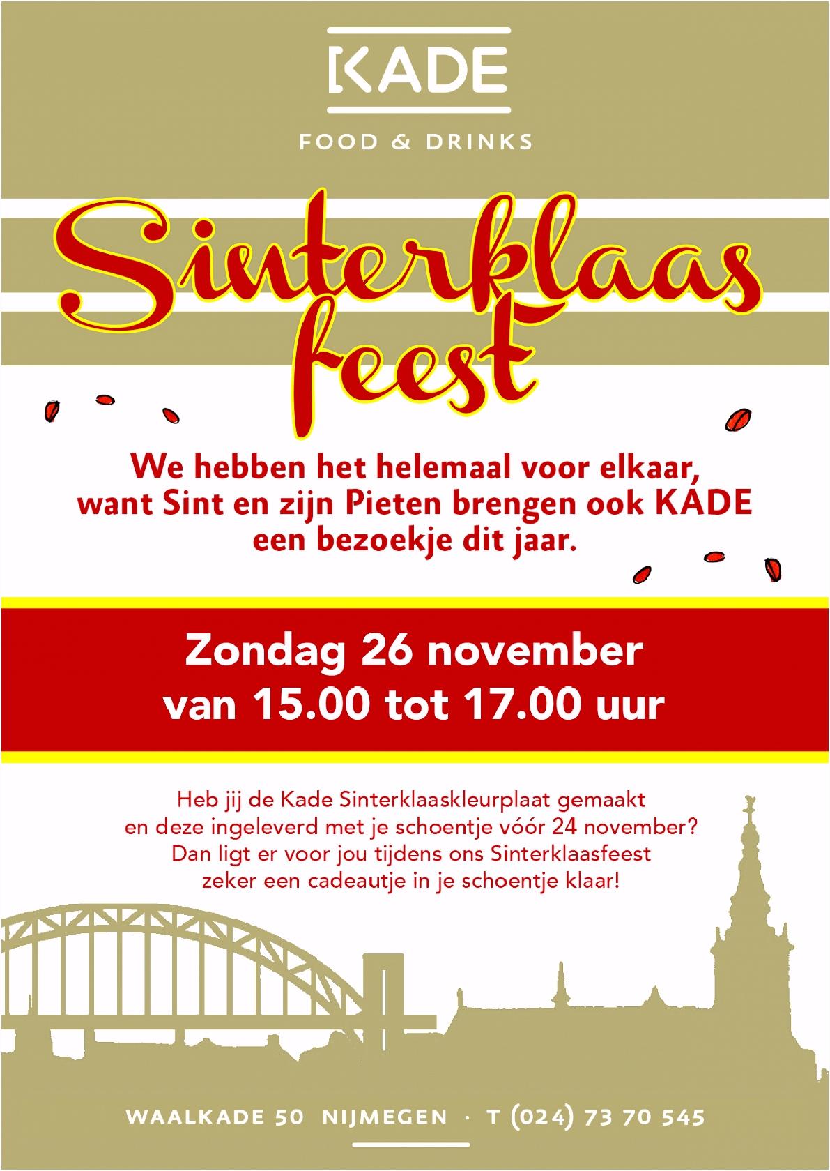 Sinterklaas KADE Nijmegen zondag 24 november vanaf 15 00 uur