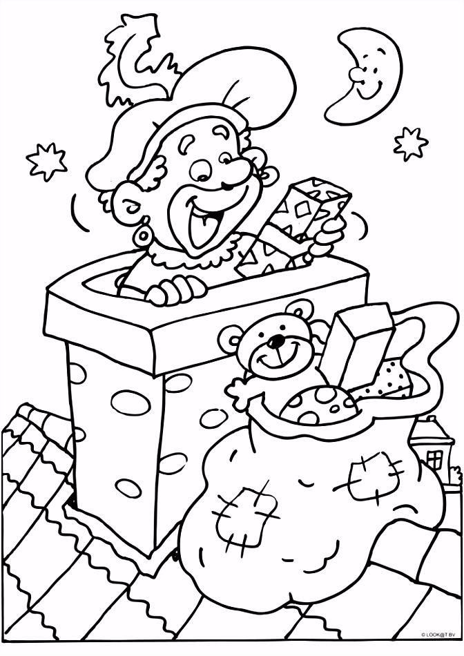 Zwarte Piet in de schoorsteen Sint Kleurplaten