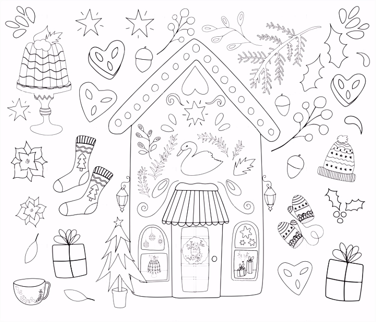 Merry Christmas Colouring wallpaper esthermols Spoonflower