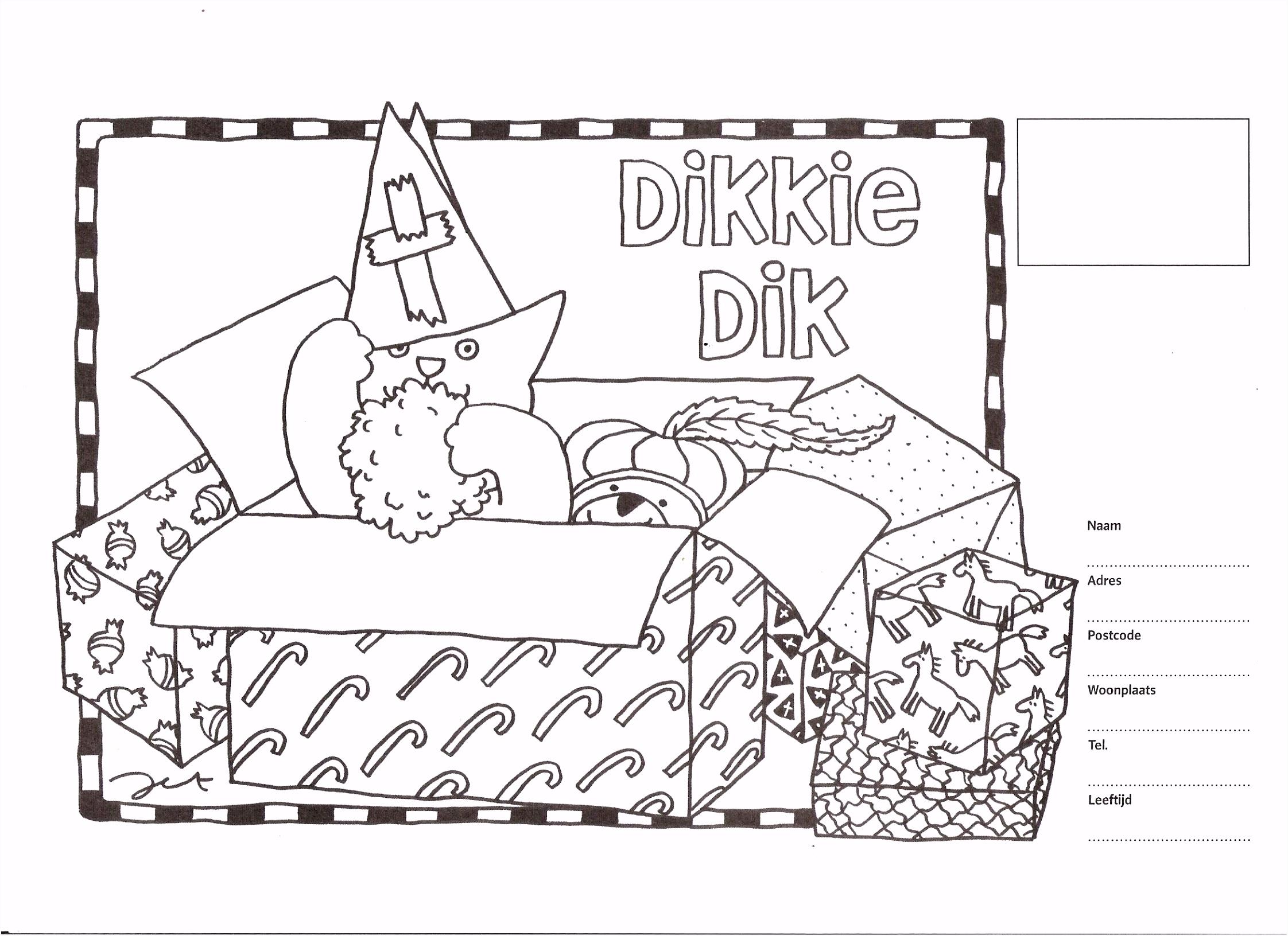 Kleurplaat Dikkie Dik Sinterklaas ARCHIDEV
