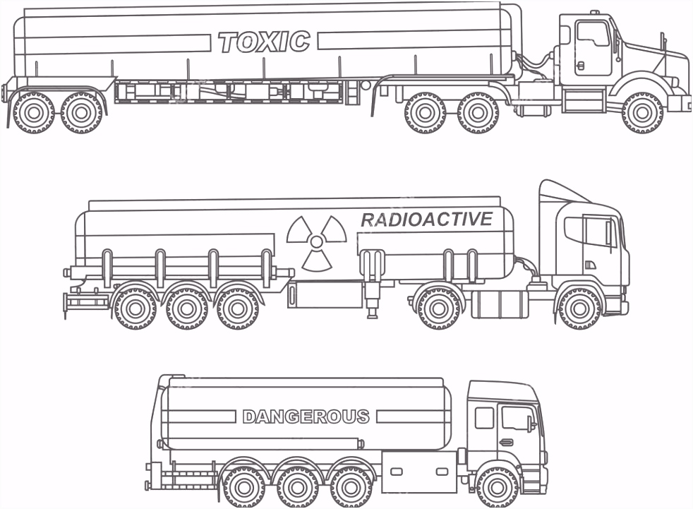Kleurplaten Set van verschillende soort stortbak vrachtwagens