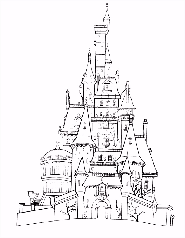 Coloring page for the kids activity book Belle s castle Disneyland