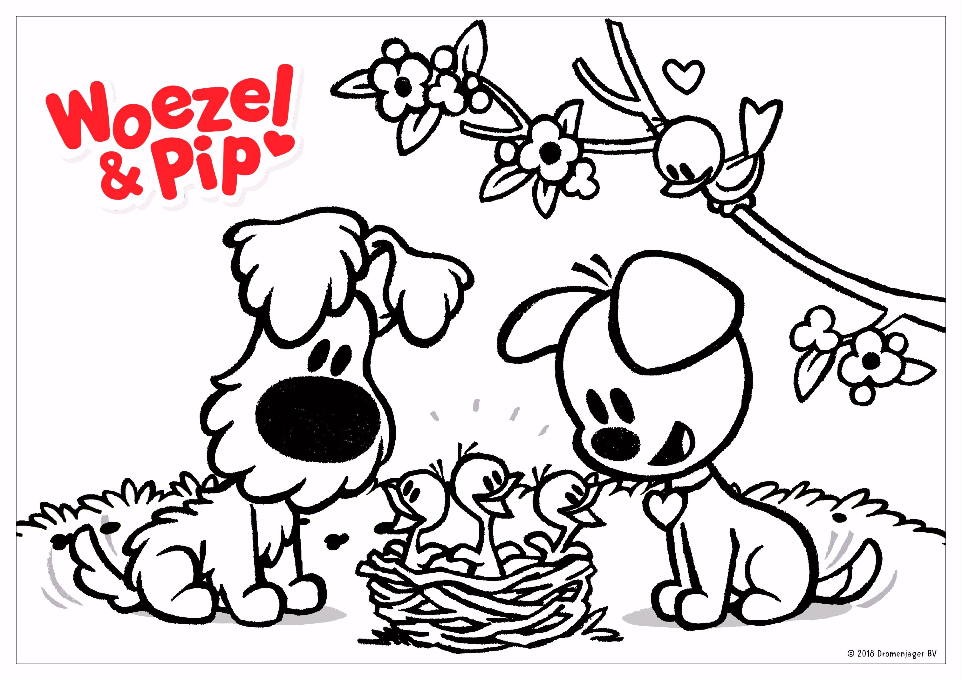 Woezel & Pip Kleurplaat Lente