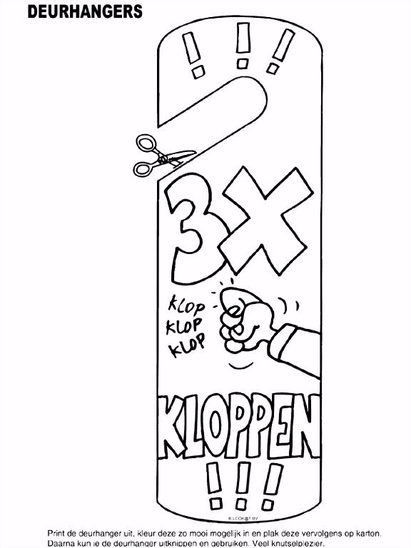 Kleurplaat Deurhanger 3x KLOPPEN Kleurplaten