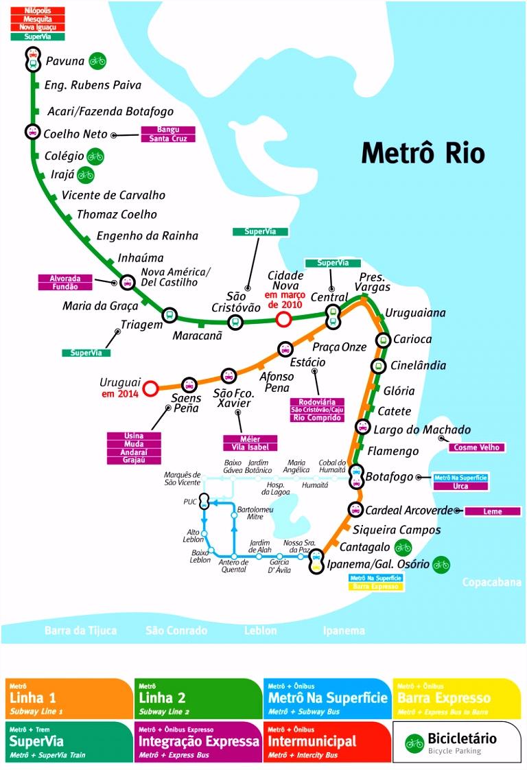Rio de Janeiro metro map Brazil