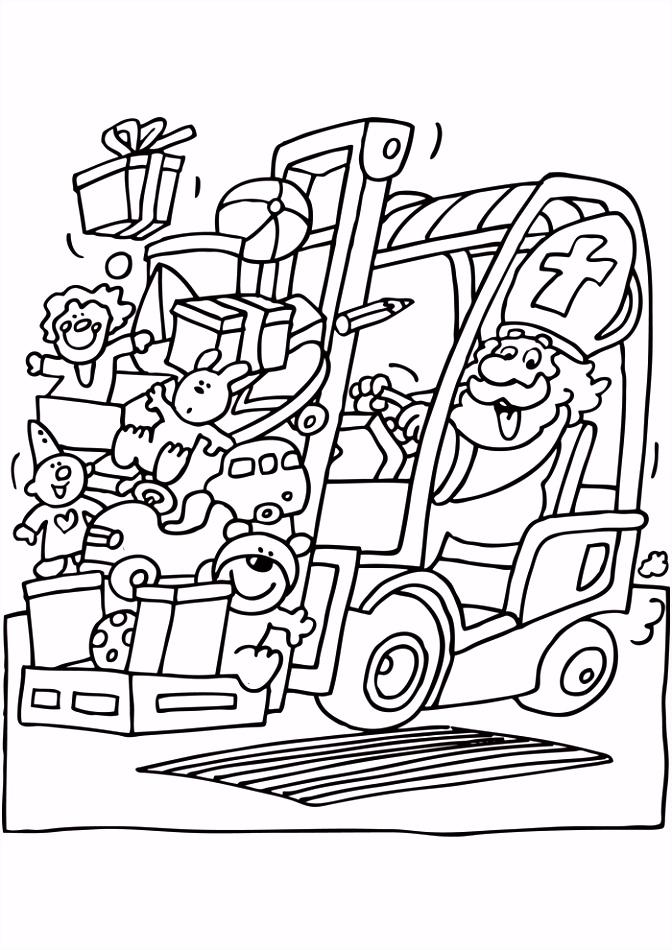 Sinterklaas op de heftruck Sinterklaas Kleurplaten Kleurplaat