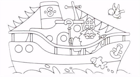 Kleurplaat Boot Van Sint ARCHIDEV