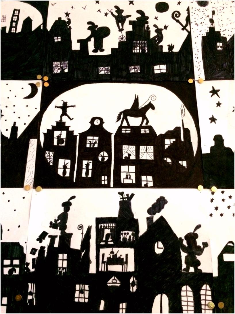Silhouetten Sinterklaas Gemaakt door groep 8 van O B S de