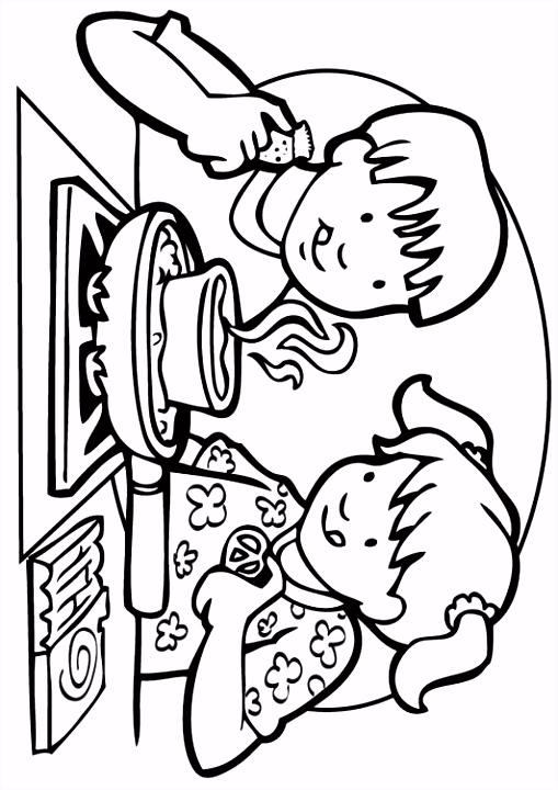 Kleurplaat koken Kinderen leren terwijl ze kleuren Afbeeldingen