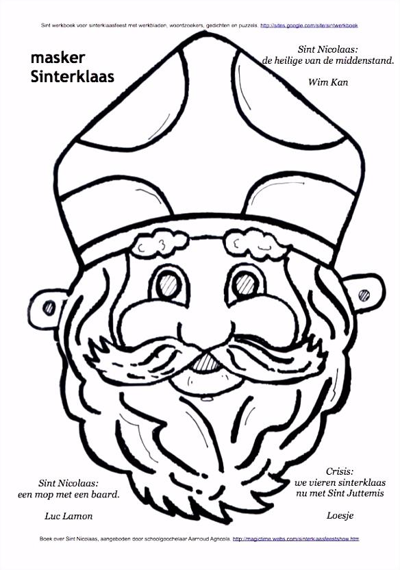 Masker Sinterklaas kleurplaat