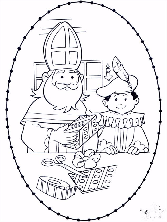 Sint borduurkaart 1 Borduren en kleuren Sint