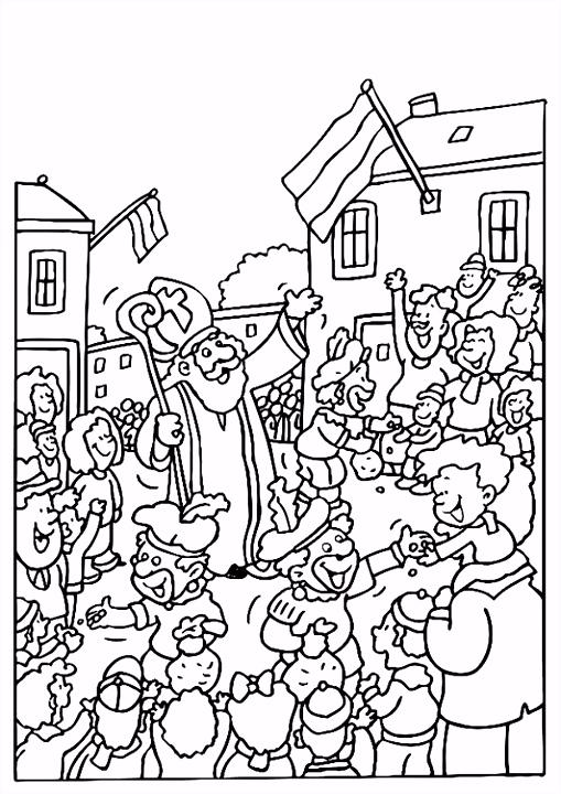 Kleurplaat Sinterklaas en Zwarte Pieten Afb 8187