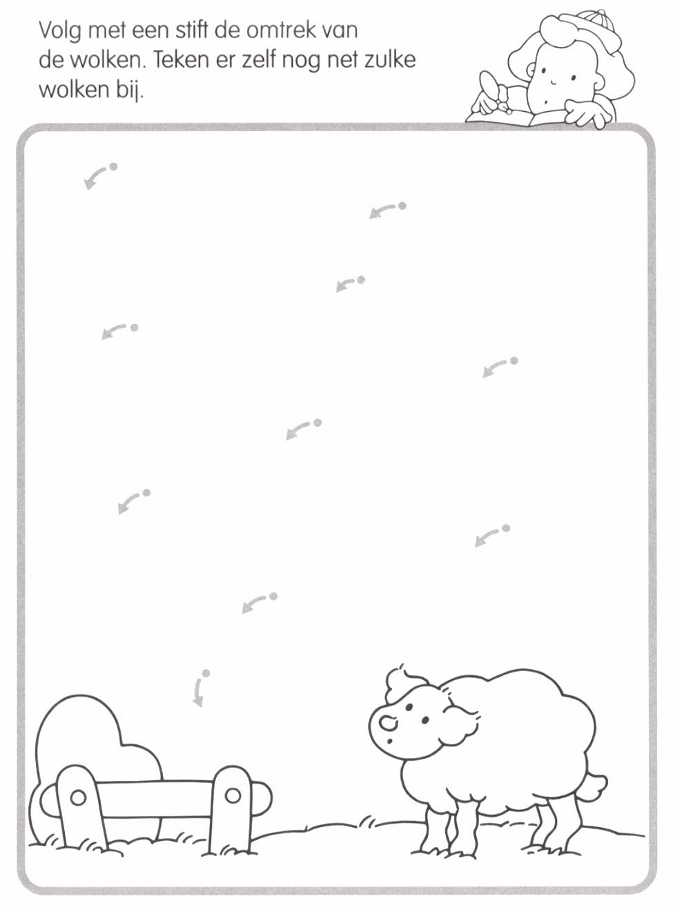 Volg de lijn en maak de wolken Thema boerderij