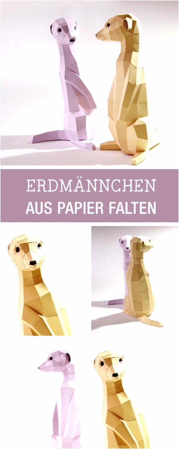 Anleitung für Erdmännchen im Origami Stil gefaltet diy tutorial